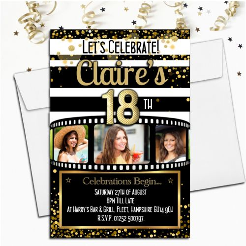 Personalised Birthday Party PHOTO Invitations N225 Black & Gold Camera Film Roll - ANY AGE
